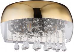 Wandleuchte Wandlampe Designleuchte Kristallleuchte Innenleuchte Schlafzimmer, Glas Metall Kristalldekor klar goldfarbig, 2x G9 Fassungen, HxBxÜ 17,5x28x14,5 cm