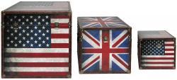 Boxenset 3-teilig Flaggen USA GB Boxen Aufbewahrung Spannverschluss stapelbar BHP B990096
