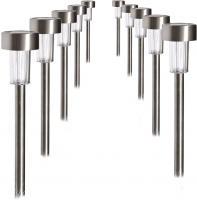 10er Set LED Solarleuchten Steckleuchten Beleuchtung IP44 Edelstahl Leuchte Lampe 504037