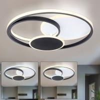 LED Deckenleuchte Acryl 3 Stufen mit Wandschalter CCT weiß schwarz rund, 4 Ringe