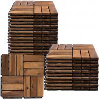 Holzfliese Akazie 30 x 30 Terrassenfliesen Holz Terrassenplatten Klicksystem Außen Klickfliesen Balkon, wetterfest rutschfest, H 1,9 cm, 30er Set
