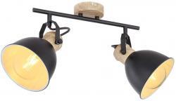 Vintage Deckenlampe Deckenleuchte Deckenstrahler Wohnzimmerlampe, verstellbare Spots, Holz Optik, Metall schwarz braun, 2x E27, LxBxH 35x15x21,5cm
