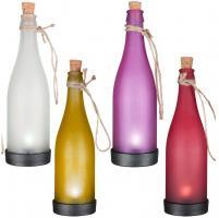 4er Set LED Solarleuchten Beleuchtung Glasflaschen Gelb Weiß Lila Gelb 504374