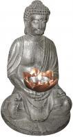 LED Solarlampe Lampe Leuchte beleuchtete Skulptur Buddha Kunststoff Globo 33144