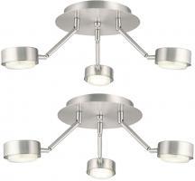 Deckenleuchte 3 Flammig Deckenlampe Strahler schwenkbar Spotleuchte beweglich, silber, 3x GX53 7W 220Lm warmweiß, DxH 18,2x58 cm
