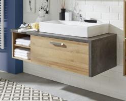 Waschbeckenunterschrank  Bay  Eiche Riviera, Beton grau (123x39 cm) optional mit Waschbecken