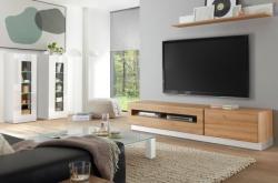 Wohnkombination  Savanna  in Hochglanz weiß und Grandson Eiche mit XL-Lowboard Wohnwand