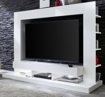 Wohnzimmer: Medienwand  TTX05  Glanz weiß (170 x 124 cm) für TVs bis ca. 55
