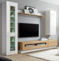 Wohnwand  Savanna  in Hochglanz weiß und Grandson Eiche mit XL-Lowboard Anbauwand 275 cm