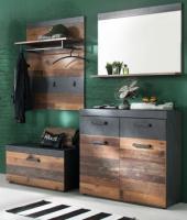 Garderobe  Indy  in Old Used Wood mit grau 4-teilig (185 x 192 cm)