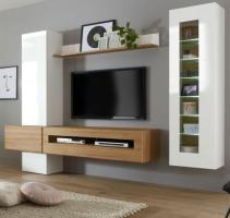 Wohnwand  Savanna  in Hochglanz weiß und Grandson Eiche mit XL-Lowboard Anbauwand 280 cm