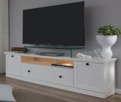 TV-Lowboard  Baxter  in weiß matt, Landhausstil, 177 x 49 cm