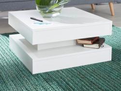Couchtisch  Universal  in weiß Wohnzimmertisch drehbar quadratisch 60 x 60 cm mit Ablage