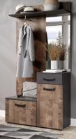 Kompaktgarderobe  Smile  in Eiche Tabak und Matera grau Garderobe Set mit Spiegel 104 cm