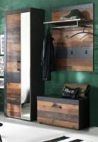 Garderobe  Indy  in Old Used Wood mit grau 3-teilig (160 x 192 cm)
