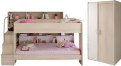 Kinderzimmer Bibop Parisot Bett + Lattenrostplatten + 2-trg Kleiderschrank + Regale + Podest-Leiter