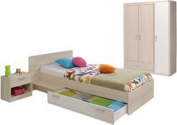 Kinderzimmer Charly Parisot 3-tlg Bett 90*200 cm mit 3-trg Kleiderschrank beige - weiß