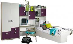 Kinderzimmer Pascal 4-tlg Kleiderschrank + Schreibtischregal + Regal inkl. Bett + Bettkasten weiß