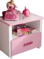 Nachtkommode Biotiful Parisot mit 1 Schublade und 1 offenes Fach B 44 cm H 44 cm T 28 cm weiß rosa