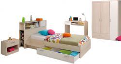Jugendzimmer Charly Parisot 4-teilig Bett 90*200 cm mit 3-türigem Kleiderschrank Akazie beige - weiß