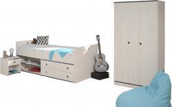 Kinderzimmer Smoozy Parisot 3-teilig weiß Bett + Kleiderschrank + Nachtkommode Funktionsbett
