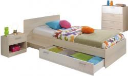 Kinderzimmer Charly Parisot 3-tlg Bett 90*200 cm + Kommode + Nachtkommode beige - weiß