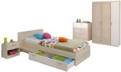 Kinderzimmer Charly Parisot 4-tlg Bett 90*200 cm mit 3-türigem Kleiderschrank grau - weiß