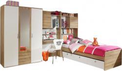 Kinderzimmer Naomi 3 4-teilig Weiß - Eiche Sonoma B 317 cm