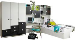 Kinderzimmer Pascal 4-tlg Kleiderschrank Schreibtischregal + Regal + Bettkasten weiß - brombeer