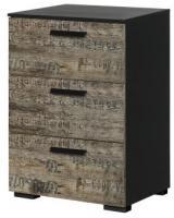 Kommode Svenja mit 3 Schubladen B 40 cm H 61 cm braun - schwarz