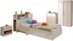 Jugendzimmer Charly Parisot 4-teilig Bett 90*200 cm mit 2-türigem Kleiderschrank Akazie grau - weiß