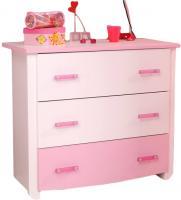 Kommode Biotiful Parisot mit 3 große Schubladen B 90 cm H 79 cm weiß - rosa