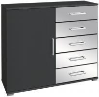 Kommode Noel mit 1 Tür + 5 Schubladen mit Spiegelfront B 100 cm H 86 cm grau