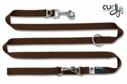 Curli Verstellbare Leine Nylon 200 x 1.5cm Braun für Hunde