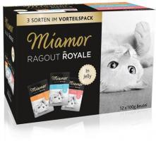 Miamor Pouchbeutel Ragout Royale Jelly Pute, Lachs & Kalb 12 x 100g Katzenfutter