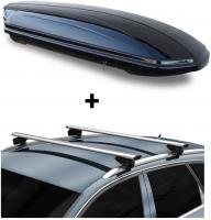 Dachbox VDPMAA580 + Alu Relingträger kompatibel mit Opel Astra Sportstourer ab 04 aufliegend