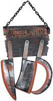 Schild mit Metzger Werkzeugen Messer Beil Halloween Grusel Wand Deko 75 x 34 cm