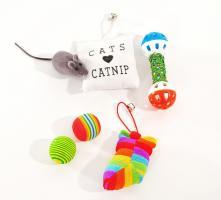 Farbenfrohes Katzen Spielzeugset (6-teilig)