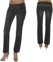 MET Design Damen Stretch Jeans Jeanshose Chino Baggy Hose gerades Bein used Look