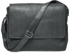 Packenger Messenger Bag Vethorn aus Echtleder, bis 15 Zoll, Umhängetasche, 40 cm, Schwarz