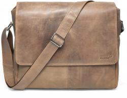 Packenger Messenger Bag Vethorn aus Echtleder, bis 15 Zoll, Umhängetasche, 40 cm, Hellbraun