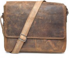 Packenger Messenger Bag Vethorn aus Echtleder, bis 15 Zoll, Umhängetasche, 40 cm, Vintage Braun