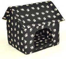 Hundehöhle Katzenhöhle Pfoten schwarz 67 x 60 cm