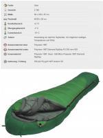 Mumienschlafsack - 230 x 90 x 55 cm - leicht - grün