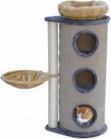 Kratztonne grau / beige - Liegemulde - abnehmbares Katzenbett - 2 Kratzstämme