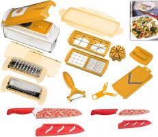 Genius Nicer Dicer Plus Gemüseschneider 14-tlg apricot + Magic-Cut Messerset rot