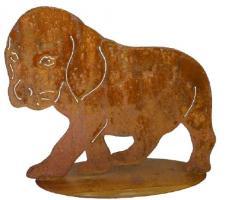 Welpe Edelrost, Rostiges Metall , Gartenfigur, Metall Figur, Gartendeko