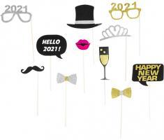 11 tlg. Foto Accessoires & Selfie Set für Fest Veranstaltung Silvester Party Deko