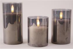 3er Set Wachskerzen mit 3D Flamme im Rauchglas, Größen: 5x10/12,5/15cm