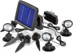BUVTEC Solarleuchte - Solarspot Trio mit drei Spots schwarz und 2 zusätzlichen Verlängerungskabeln je 5 m esotec